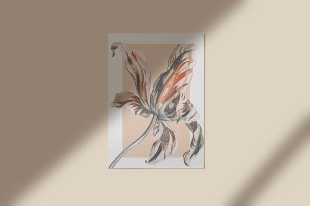 Fiore dipinto in una cornice sul muro Psd Gratuite