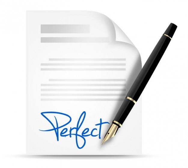 Firma azul con elegante pluma PSD gratuito