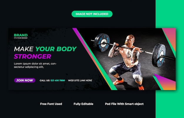 Fitness facebook cover ontwerpsjabloon Premium Psd