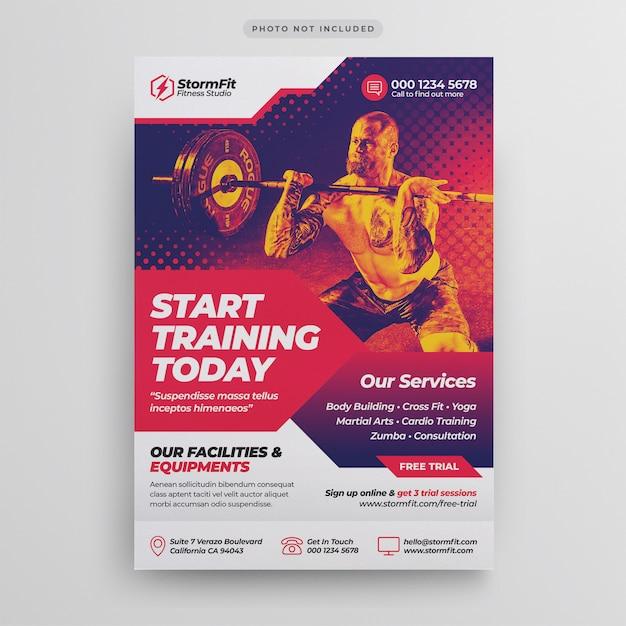 Fitness gym flyer-sjabloon Premium Psd