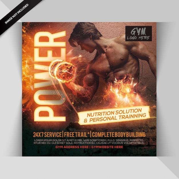 Fitness gym instagram post of banner Premium Psd