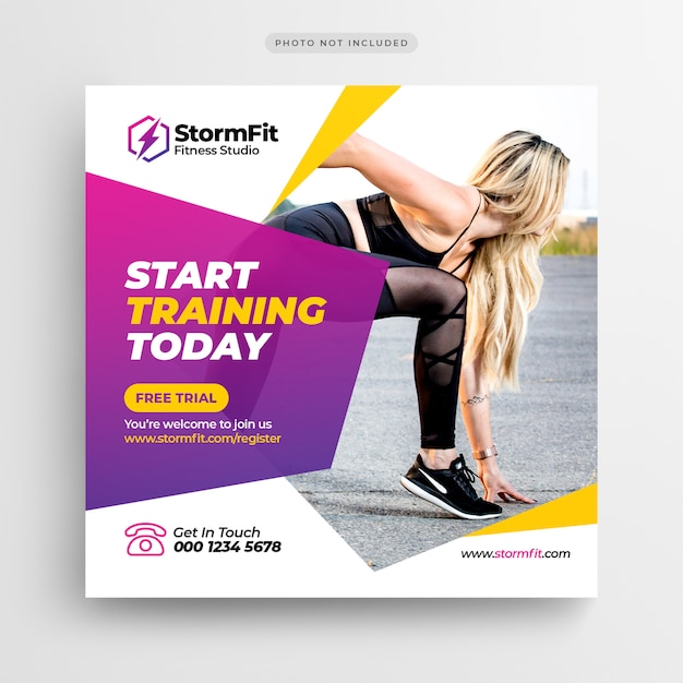 Fitness gym social media post of square flyer-sjabloon Premium Psd