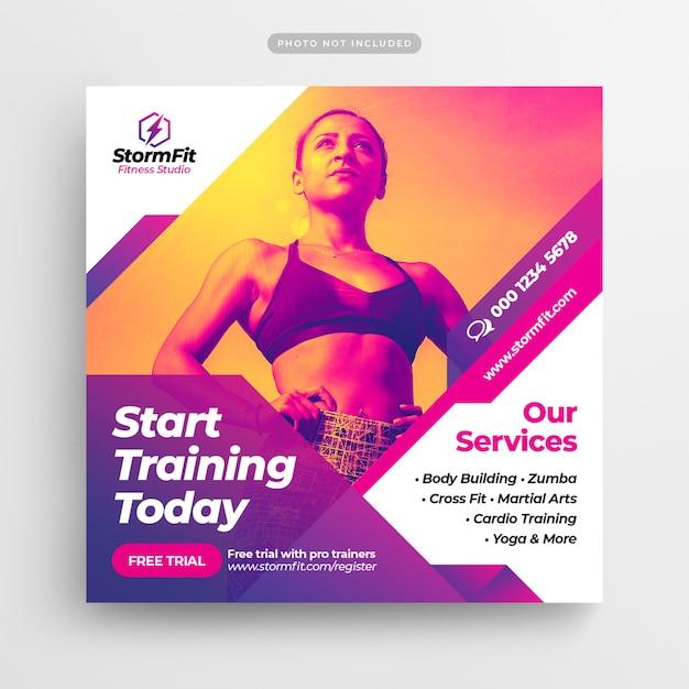 Fitness gym social media post & webbanner Premium Psd