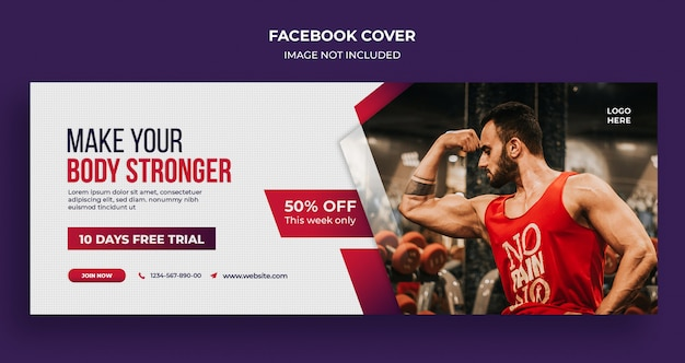 Fitness gym sociale media banner, sjabloon voor spandoek instagram Premium Psd