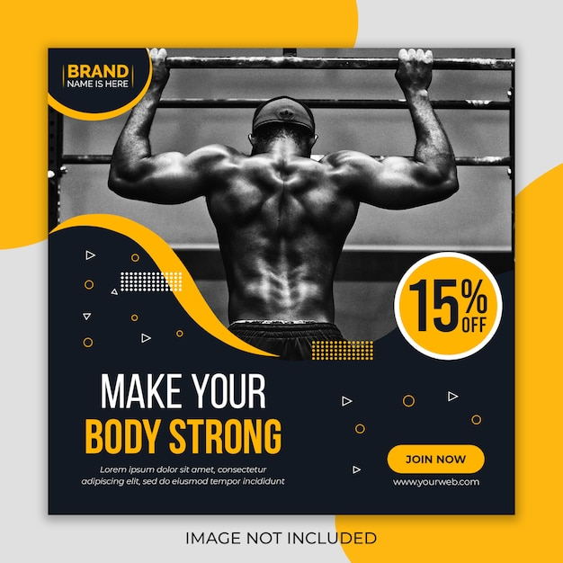 Fitness gym sociale media sjabloon voor spandoek Premium Psd