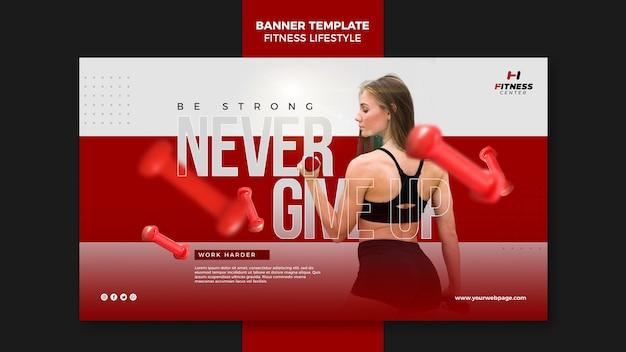 Fitness levensstijl advertentie sjabloon voor spandoek Gratis Psd