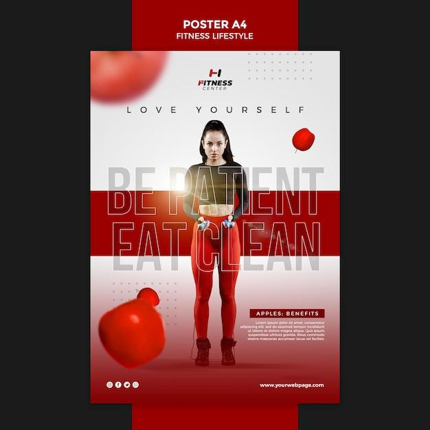 Fitness levensstijl sjabloon poster Gratis Psd