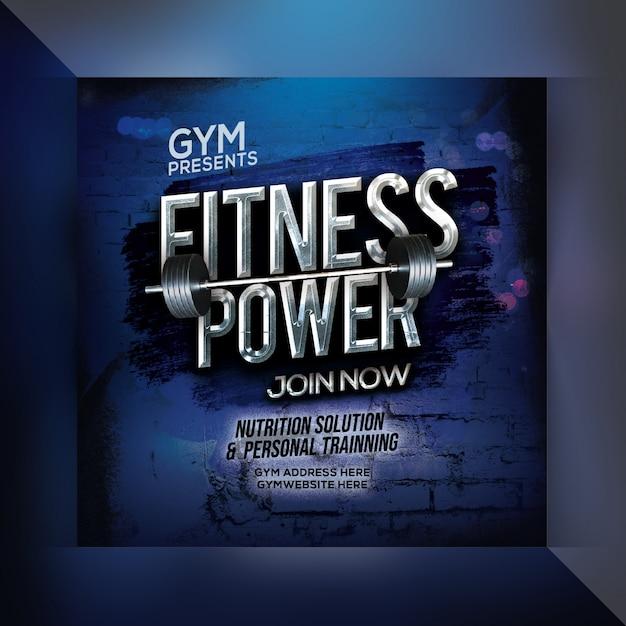 Fitness power instagram postsjabloon Premium Psd