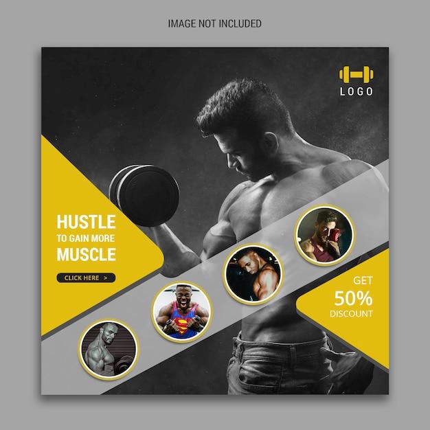 Fitness social media banner voor facebook en instagram sjabloon Premium Psd