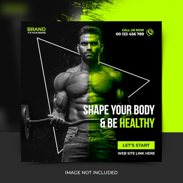 Fitness social media postsjabloon, bannerpost Premium Psd