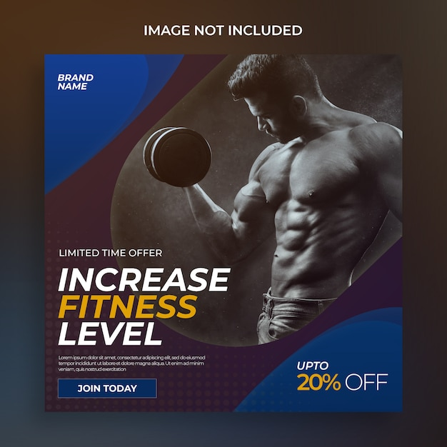 Fitness social media postsjabloon Premium Psd