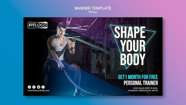 Fitness trainer sjabloon banner Gratis Psd
