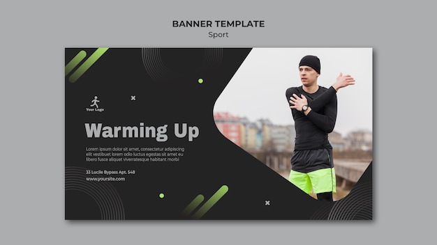 Fitness training advertentie sjabloon voor spandoek Gratis Psd