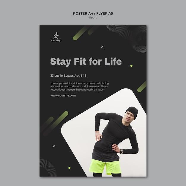Fitness training poster sjabloon Gratis Psd