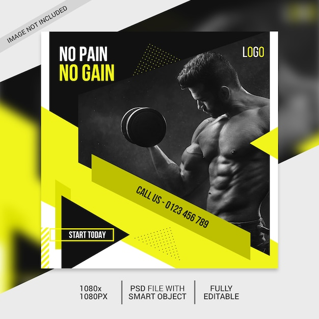 Fitness vierkante sjabloon folder of instagram-post Premium Psd