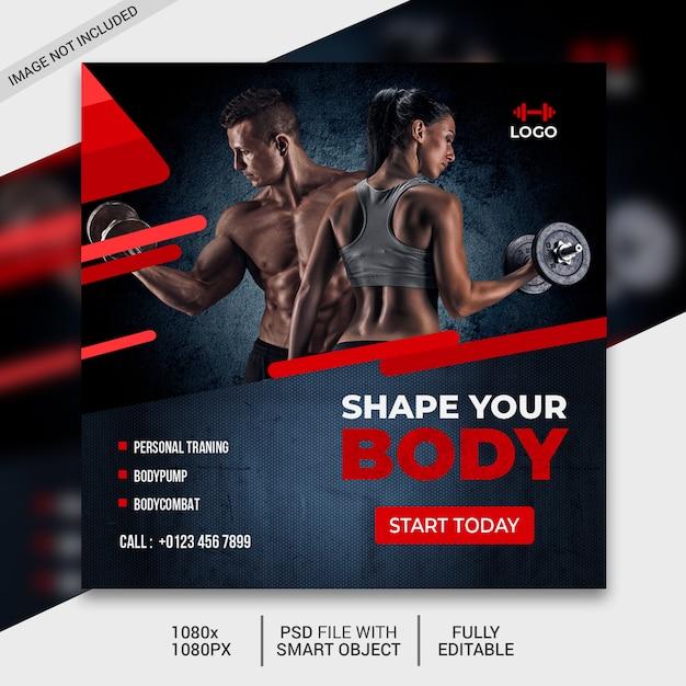 Fitness vierkante sjabloon folder of instagram-post Premium Psd