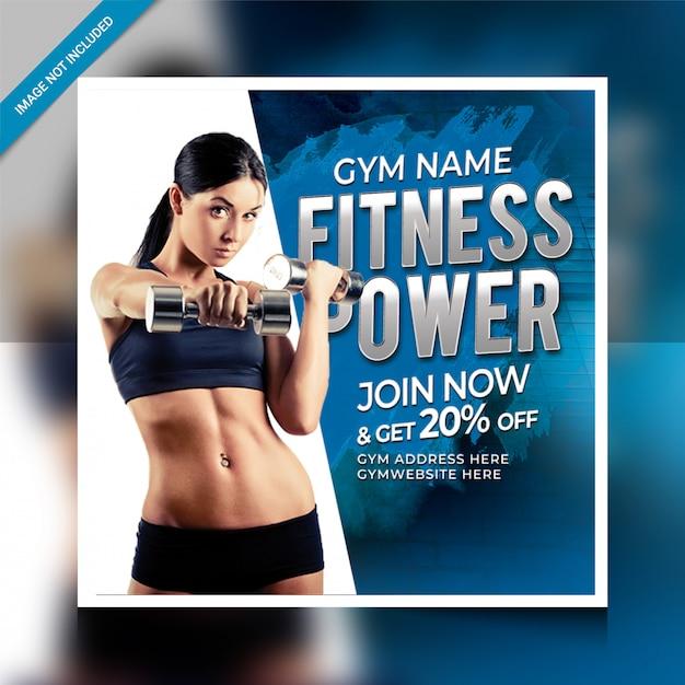 Fitnesspower postsjabloon voor sociale media Premium Psd
