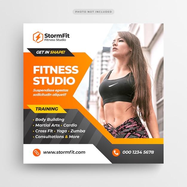 Fitnessruimte sociale media post banner of vierkante flyer Premium Psd