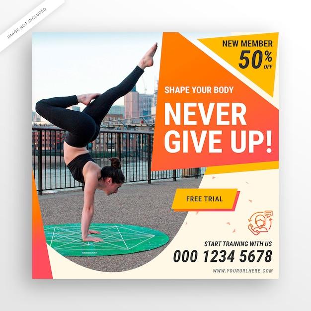 Fitnessruimte sociale media postbanner of vierkante flyer Premium Psd