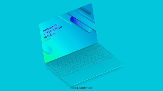 Flat concept laptop mockup in 3d-ontwerp Premium Psd