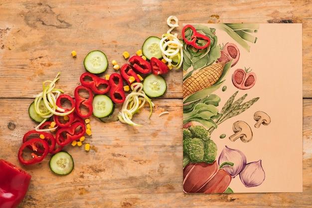 Flat lay de comida sana con mockup de tarjeta PSD gratuito