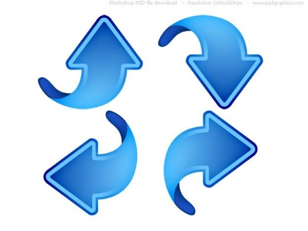 Flechas arriba, abajo, izquierda y derecha, los iconos azules web Psd Gratis