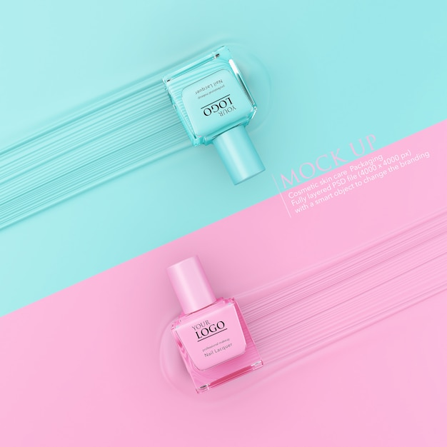 Fles nagellak mockup sjabloon op pastel achtergrond. Premium Psd