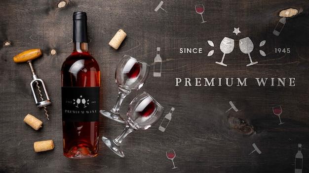 Fles wijn en glazen Premium Psd