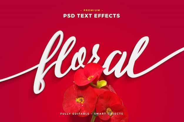 Flor roja efecto de texto floral maqueta PSD Premium