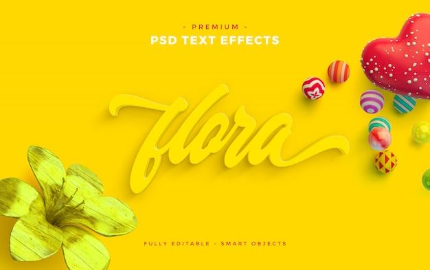 Flora text effect mockup Psd Premium