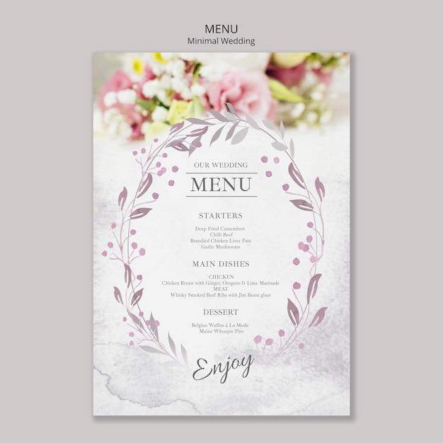 Floral minimale bruiloft menusjabloon Gratis Psd