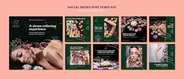 Floral spa sociale media post sjabloon Premium Psd