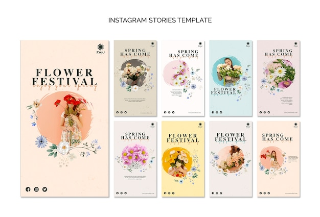 Flower festival instagram verhalen sjabloon Gratis Psd