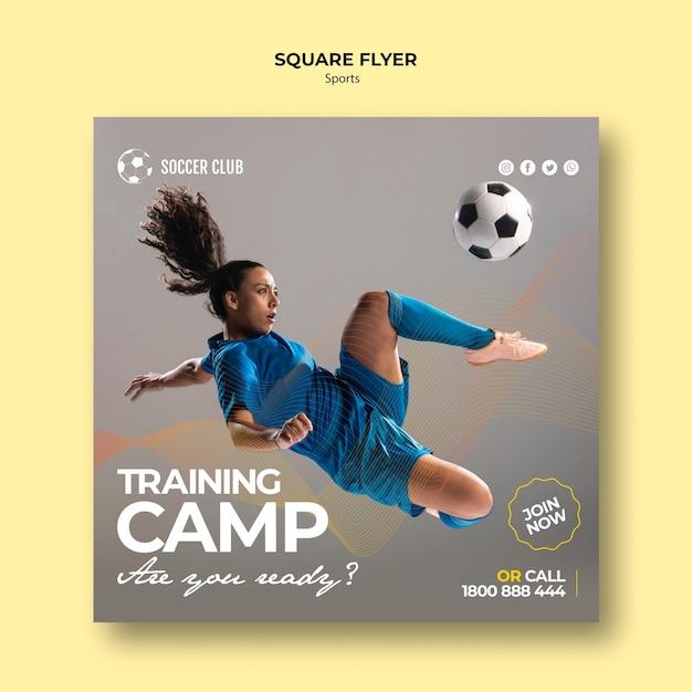 Flyer cuadrado del campo de entrenamiento del club de fútbol PSD gratuito
