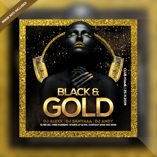 Flyer cuadrado negro y dorado de fiesta nocturna PSD Premium