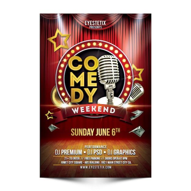 Flyer di fine settimana di commedia Psd Premium