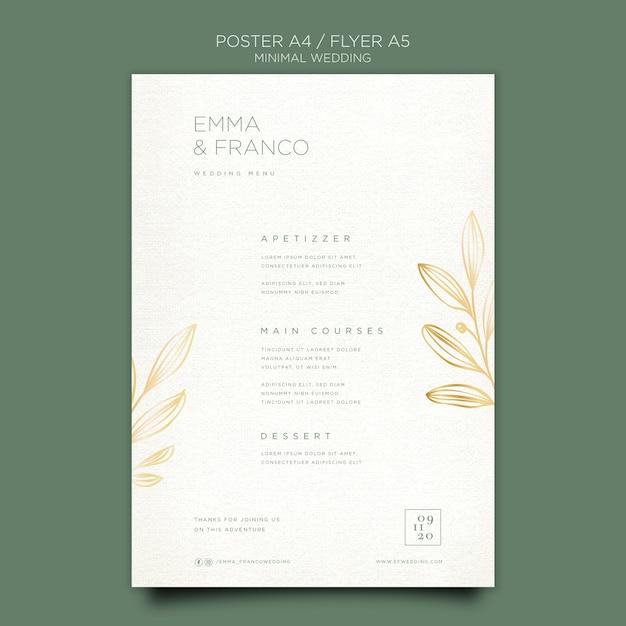 Flyer elegante para boda PSD gratuito