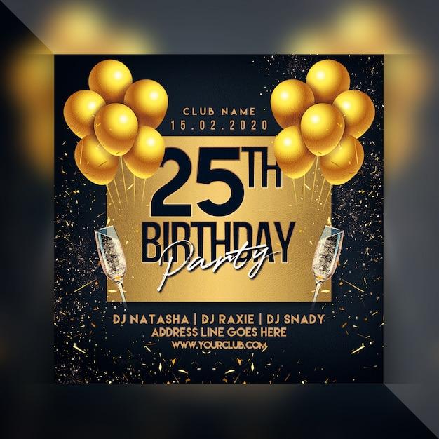 Flyer fiesta de cumpleaños PSD Premium