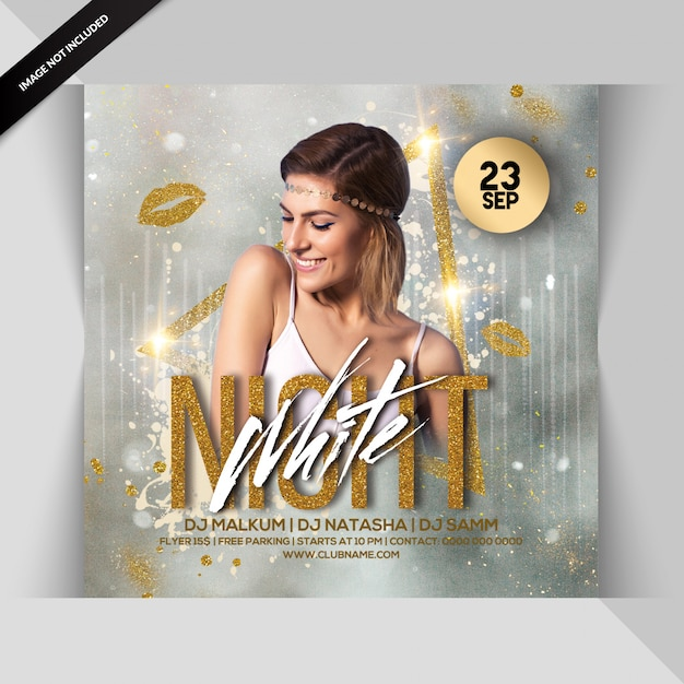 Flyer fiesta de noche blanca PSD Premium