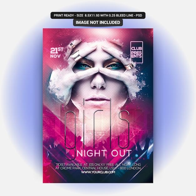 Flyer de fiesta de noche de niña PSD Premium