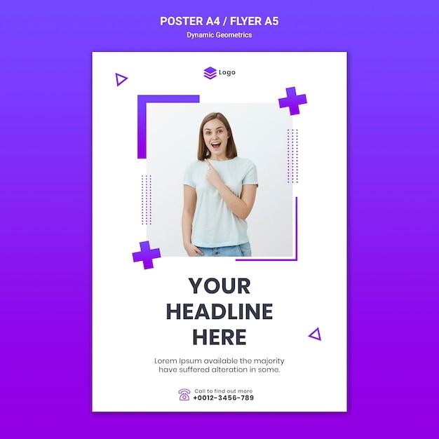Flyer gratis thema met dynamische geometrie Gratis Psd