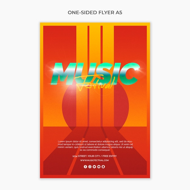 Flyer de una página a5 para festival de música de los 80 PSD gratuito