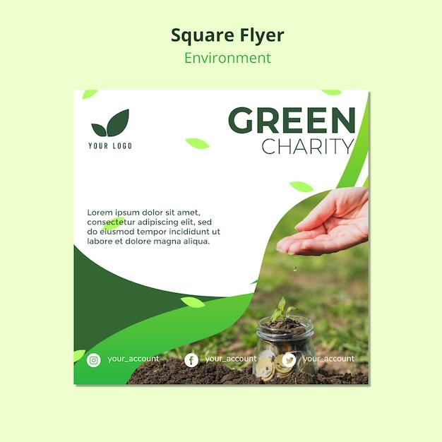 Flyer sjabloon concept van groene liefdadigheid Gratis Psd