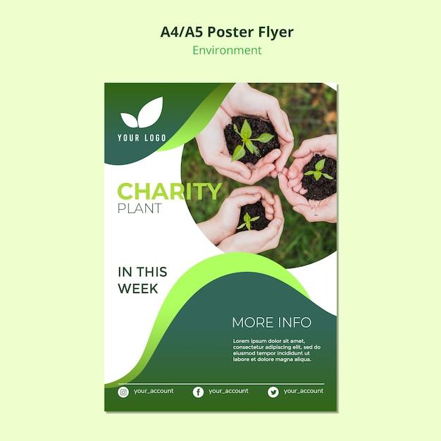 Flyer sjabloon concept van liefdadigheidsplant Gratis Psd