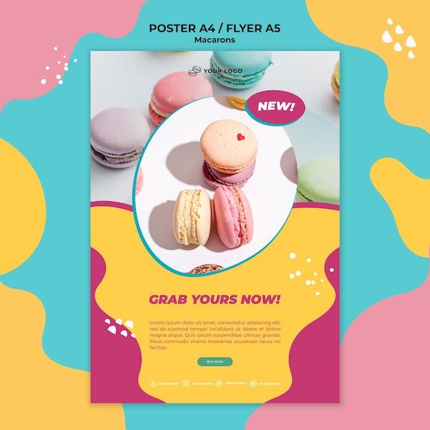 Flyer sjabloon macarons snoepgoed afdrukken Gratis Psd