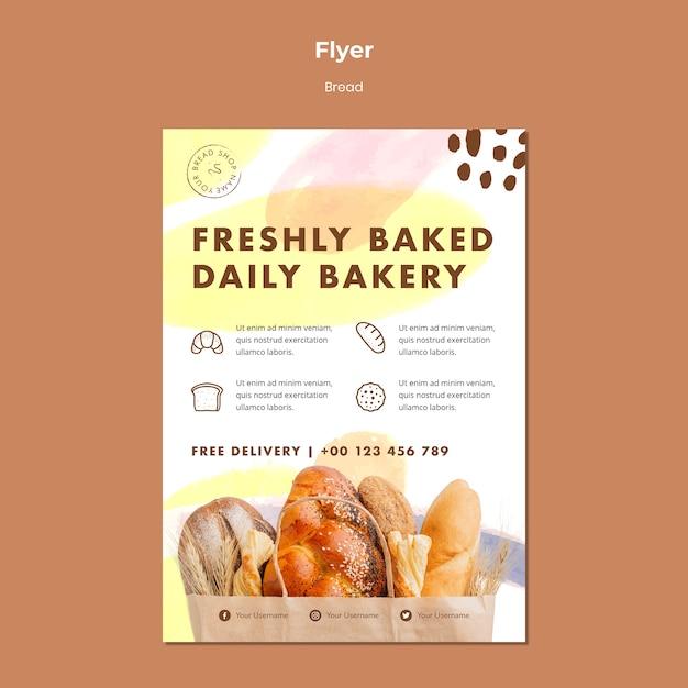 Flyer sjabloon vers gebakken dagelijkse bakkerij Gratis Psd