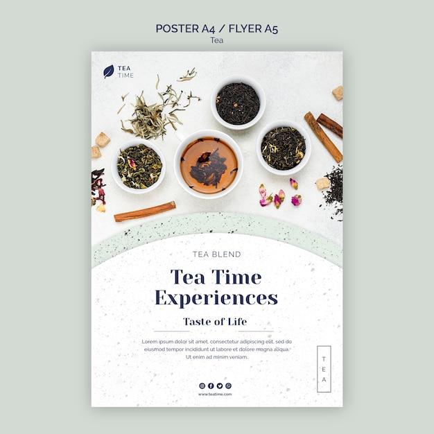 Flyer-sjabloon voor aromatische theetijd Gratis Psd