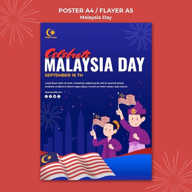 Flyer-sjabloon voor de viering van de dag van maleisië Gratis Psd