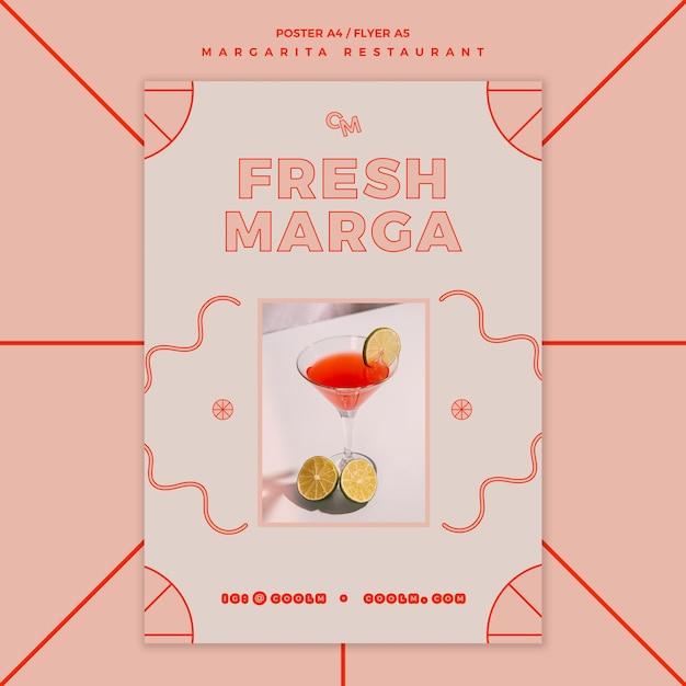 Flyer-sjabloon voor margarita cocktaildrank Gratis Psd