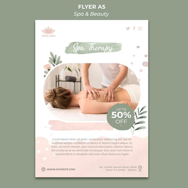 Flyer-sjabloon voor spa en ontspanning Gratis Psd